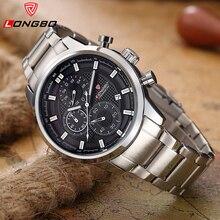 LONGBO Sport montre mâle lumineux calendrier en acier inoxydable montres étanche 6pin lumineux grand cadran quartz montre 80181G