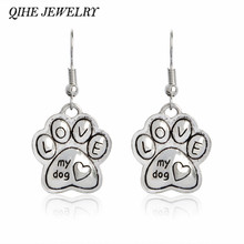 QIHE JEWELRY Love My Dog Earring Paw Dog Cat Foot Print Charm Pet Jewelry Dog Lover Gifts For Women Girl Jewelry(China)