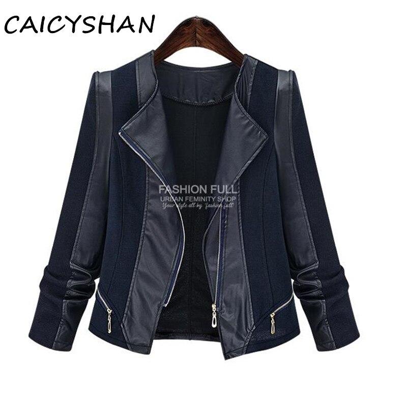 Nový podzim zimní dámská bunda kabát vestidos módní plus velikost tenký PU svetr svetr bunda pro ženy velký kabát kabát