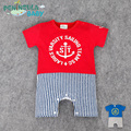 Navy Baby Clothes Anchor Baby Rompers Short Sleeve Splicing Bebe Ropa Baby Boy Clothes Summer Vertical Stripes Navy Baby Clothes