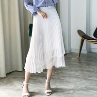 Pleated Skirt Women Classic Design 100% Polyester Double layer Pleated 2 Colors Skirts Vintage Style New Fashion Spring 2018