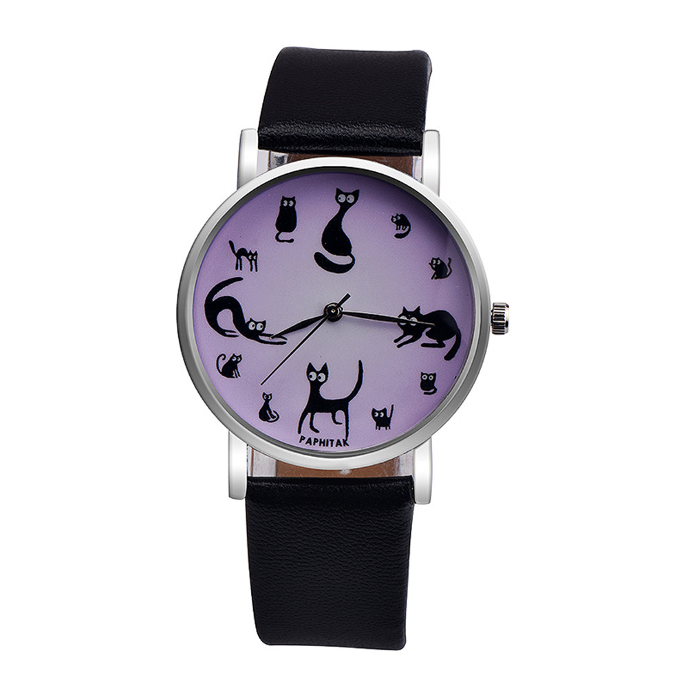 Women Cute Cat Faux Leather Analog Quartz Watch Casual chic leather quartz glass mirror Lovely and elegant fashion quartz watch cute faux leather bowknot necklace for women