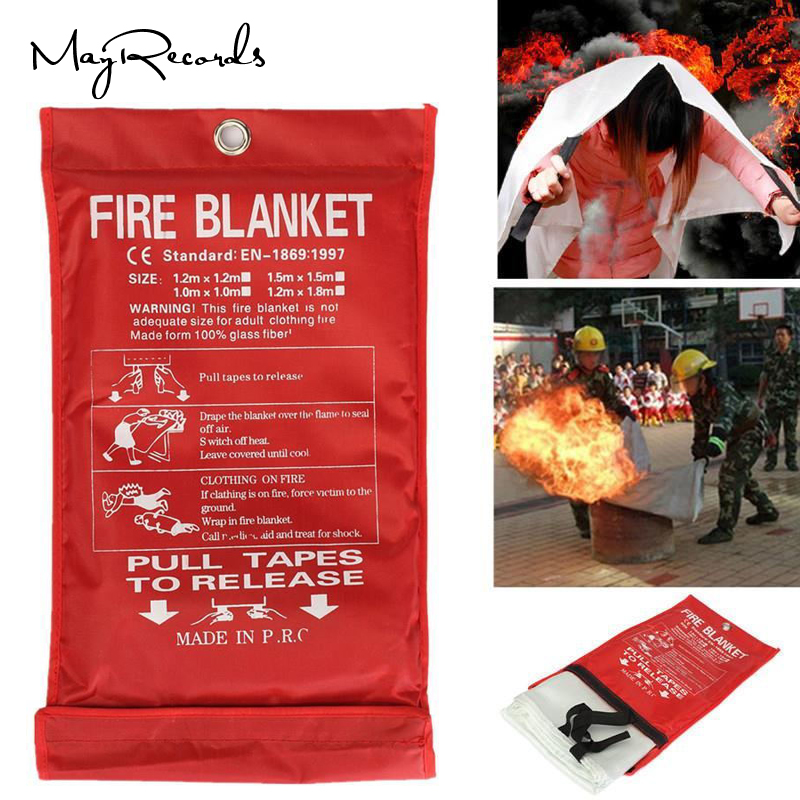 Free Shipping 1MX1M Fire Blanket Emergency Survival Fire Shelter Safety Protector Fire Extinguishers Tent(China)