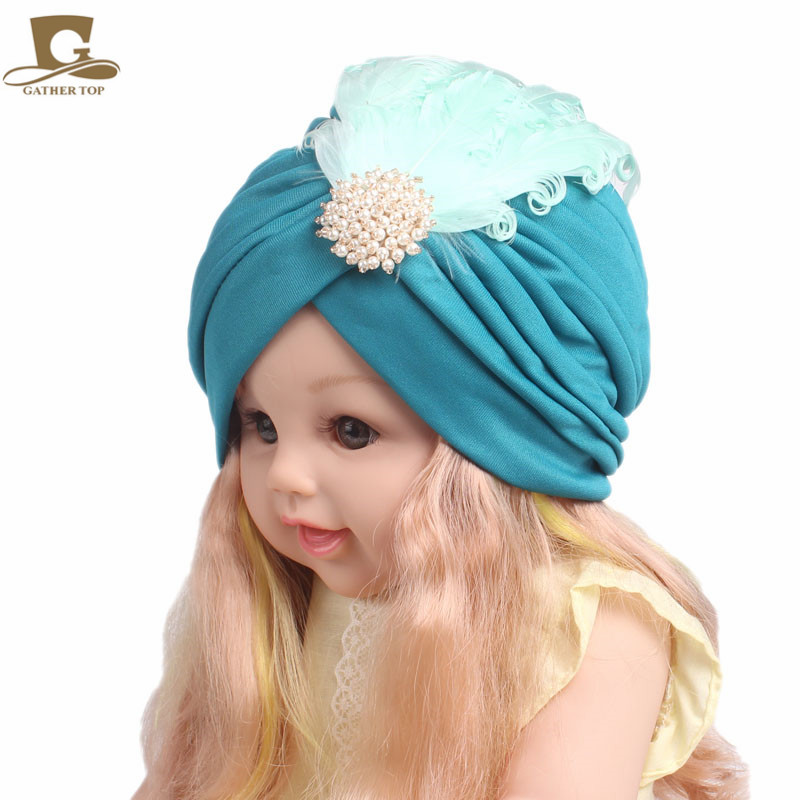 New Kids girls Embellished Feather Turban Vintage Flapper Dress Headpiece beanie headband headpiece