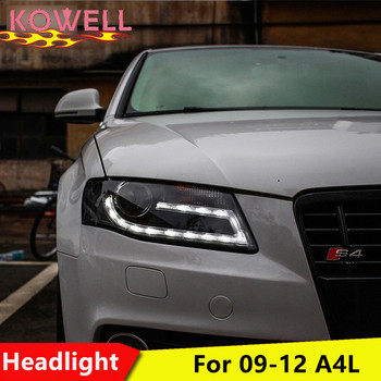 KOWELL Car Styling for Audi A4 B8 Headlights 2009-2012 A4L LED Headlight LED DRL Bi Xenon Lens High Low Beam Parking