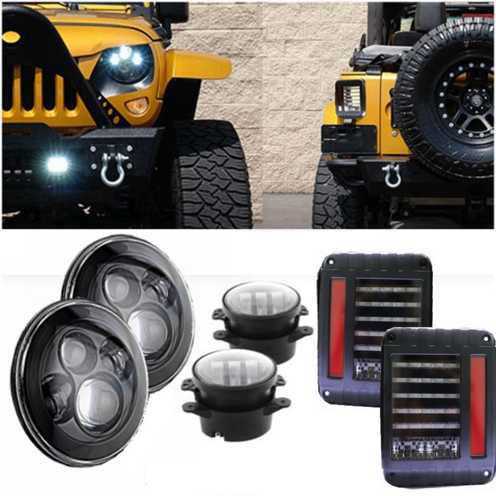 40 W 7 pouces H4 H3 phare LED 4 ''lampe de feu arrière LED antibrouillard pour Jeep Wrangler JK TJ CJ LJ