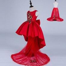 Китайский Стиль Весна Осень След Девушки Костюмы Красный Бантом Детей Платье Принцессы Нет Сетки Дети Одежда Шелк