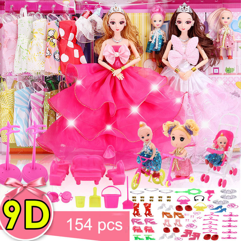 9D True Eye bjd diy baby doll american girl doll clothes Princess Girl Toy Children Wedding dress for kids toy gift accessories doll accessories pink rabbit pattern sleeping bag pillow doll clothes wear fits 18 american girl doll for baby gift lg74