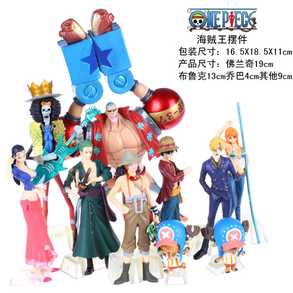 Anime One Piece Luffy Chopper Zoro Nami Robin Sanji Franky Brook Usopp PVC Figurines Jouets 10 pcs/ensembleAnime One Piece Luffy Chopper Zoro Nami Robin Sanji Franky Brook Usopp PVC Figurines Jouets 10 pcs/ensemble