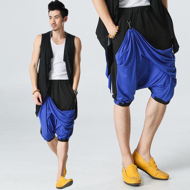 Verano 2017 Hombres Ocio Pantalones Bailarina hombres Super Cool Punk Pantalones harén Pantalones de Estilo Coreano Delgada Floja Entrepierna Pantalones para hombre