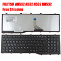 New United Kingdom UK Laptop Keyboard for FUJITSU Lifebook AH532 A532 N532 NH532 BLACK FRAME BLACK (For Win8) Replacement