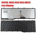 Nuevo reino unido reino unido teclado del ordenador portátil para fujitsu lifebook ah532 a532 n532 nh532 negro marco negro (para Win8) reemplazo