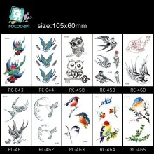 Rocooart Colorful Flying Bird Temporary Tattoo Sticker Owls Pelican Tattoo Sticker Animals Fake Tattoo Taty For Body Art Tatuaje(China)