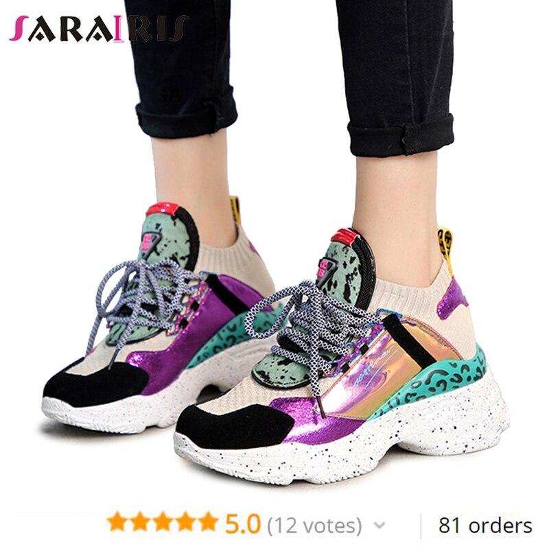 SARAIRIS 2019 Nouveau 35-42 D'été Véritable En Cuir Suède Plate-Forme Sneakers Femmes Crin Décoration décontracté Plat chaussures pour femmes Femme