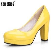 9 Farben Größe 32-43 Female High Heel Schuhe Frauen Plattform Bonbonfarben Lackleder High Heels Pumps Amt damen Schuhe Getragen