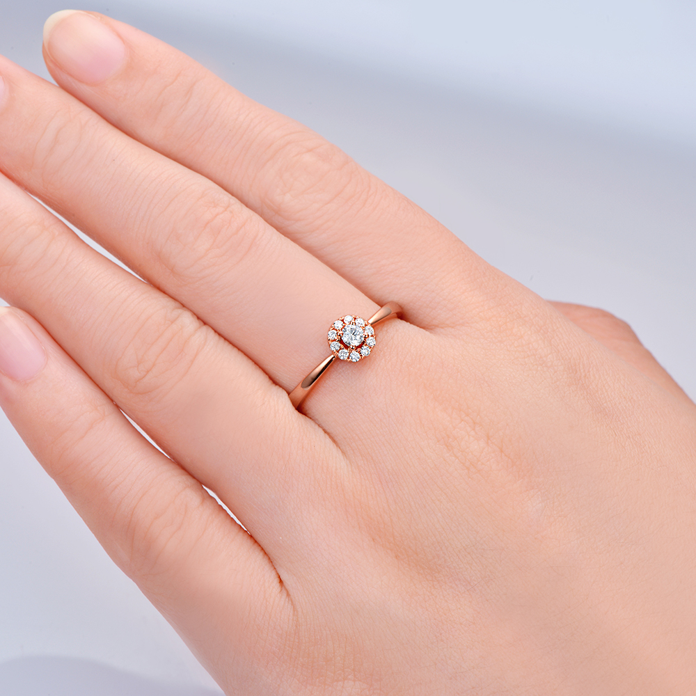 14K Rose Gold Natural 0 22ctw Halo Diamond Engagement Wedding Band Ring for Anniversary in Rings from Jewelry Accessories