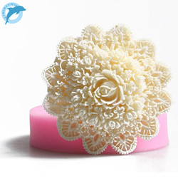 LINSBAYWU  3D Rose Handmade Soap Silicone Mold Fondant Cake Chocolate Candle Moulds Kitchen Baking Cake Decorating Moulds Tools