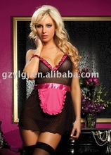 Free Shipping Sexy lingerie Fancy Dress Maid  party costume one size black pink q11026