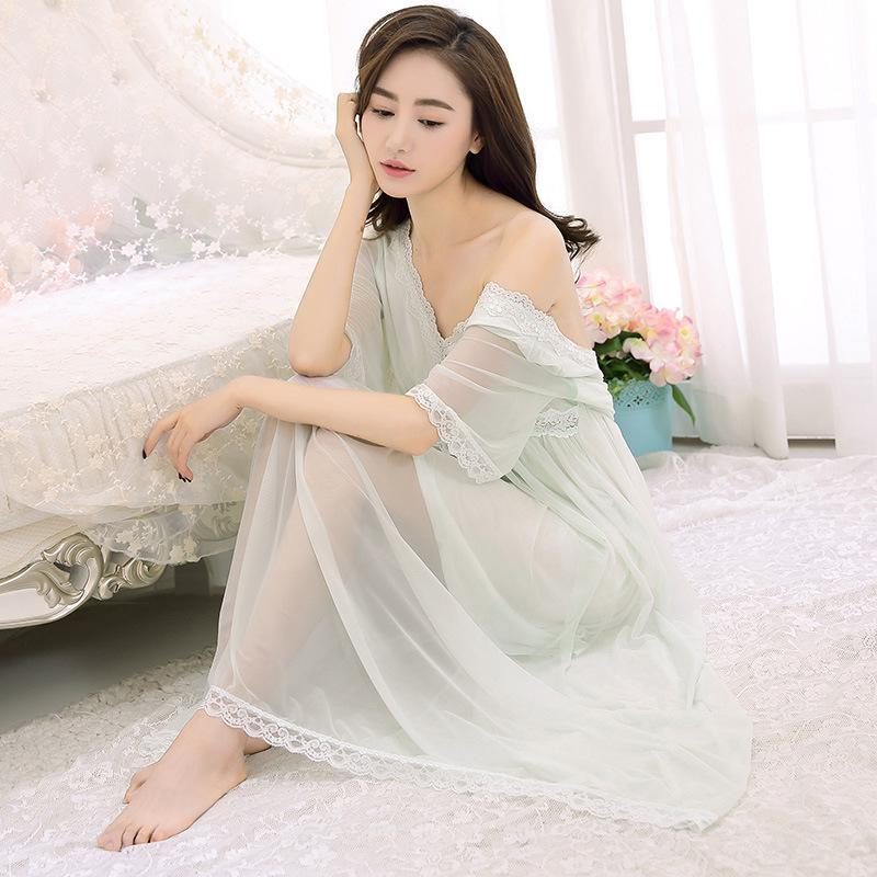 Spring And Summer Palace Ladies Sexy Nightgown Retro Princess Goddess Gauze Lace Long Nightdress