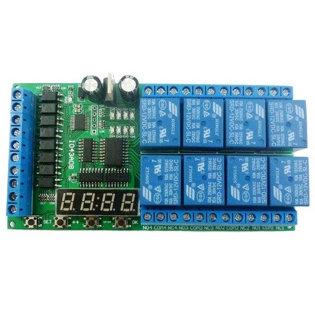 Módulo de retardo multifunción de 8ch DC 12V, temporizador de ciclo, interruptor para secuenciador de potencia, LED, torno PLC de Motor