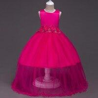 Flower meisjes elegante tule baljurk jurken voor meisjes 11 jaar floor mouwloos trailing gown bruiloft meisje