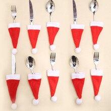 4pcs Christmas Hat Santa Sacks Knife Fork Holder Tableware Bag Decoration for Home Noel New Year Dinner Table Cristmas Ornaments