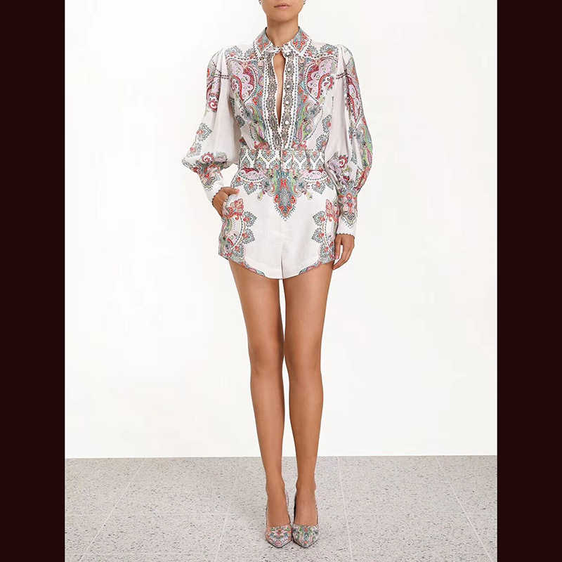 2019 spring new high quality casual linen long sleeve printed retro shirt top + high waist shorts two-piece suit