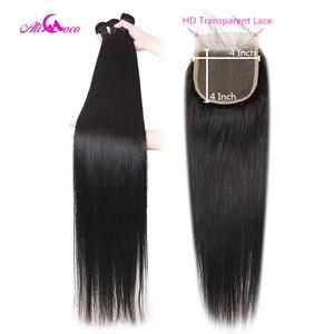 Али Коко 30 дюймов 32 34 36 38 дюймов пучки человеческих волос с HD прозрачной застежкой бразильские прямые пучки волос с HD закрытием