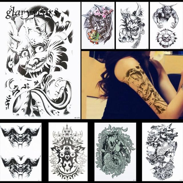 8 stucke schwarz weia teufel muster design tattoo aufkleber lotus aufkleber frauen korperkunst manner temporare fake