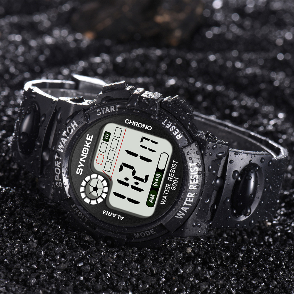 SYNOKE Multi-Function 30M Waterproof Watch LED Digital Double Action WatchElectronic Watch Fashion Gif Men's Watch Outdoor Sport