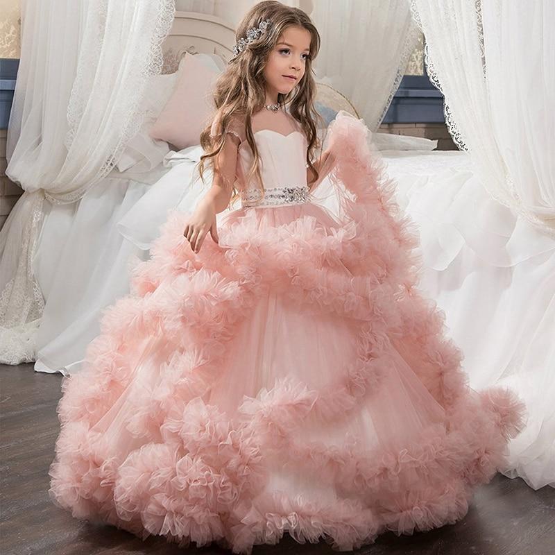 Elegant Ruffles Crystals Bling Bling Sheer Neck Long   Girl     Dress   Party Christmas Kids Evening Formal   Dress   for Bridesmaid Wedding
