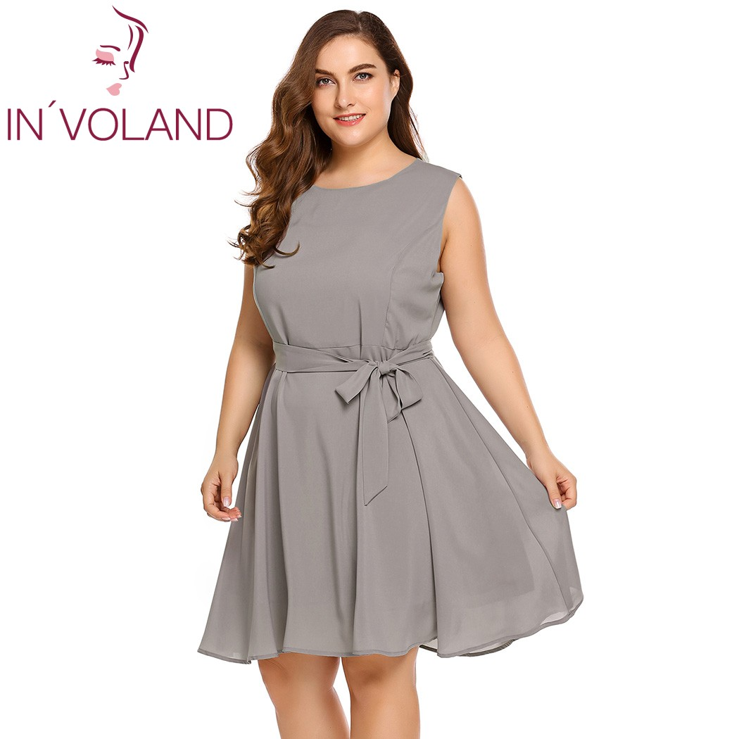 IN'VOLAND Plus Size Women Dress XL-5XL Fashion 2018 Summer Sleeveless High Waist Solid Fit And Flare Dresses Vestidos Big Size