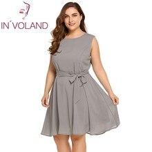 In'voland плюс Размеры женское платье XL-5XL Мода 2018 Лето рукавов Высокая талия сплошной Fit и вспышки Платья для женщин Vestidos большой Размеры