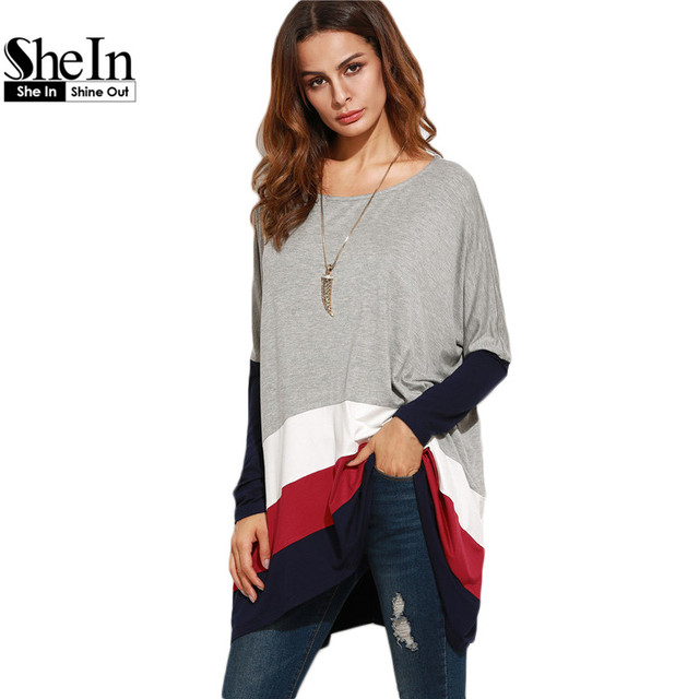 SheIn Color Block Loose T Shirt Women Round Neck Womens Long Sleeve Tops Ladies Casual Tees Oversized Longline T-shirt