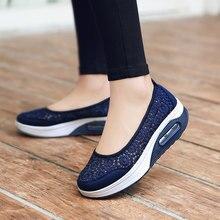 Mwy mulheres floral respirável malha sapatos de renda senhora bonito trabalho enfermeira sapatos casuais femal sapatos plataforma oco para fora zapatos mujer
