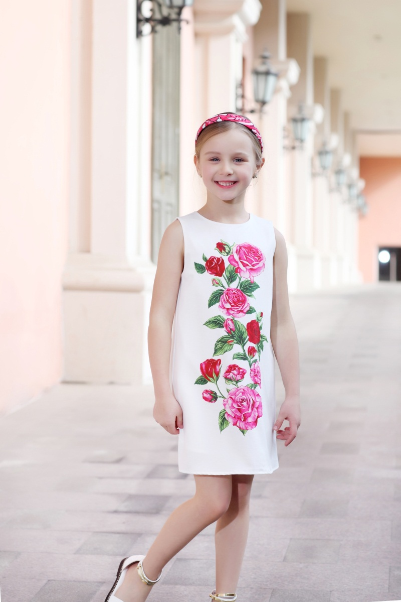 Summer children rose flower dress kids girls holiday beach jumper dress child 3Y-14Y sleeveless soft girl formal party sundress yupard xm l t6 led yellow light torch flashlight diving lamp diver lantern underwater waterproof 26650 18650 battery