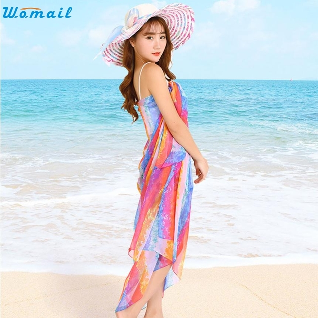 2017 Beach Chiffon Multicolor Cover-Ups Dress Sarong Bathing Suit Coverups  Bikini Cover Up Women Swimsuit Beachwear Scarf Dec07 c6a85dbd5