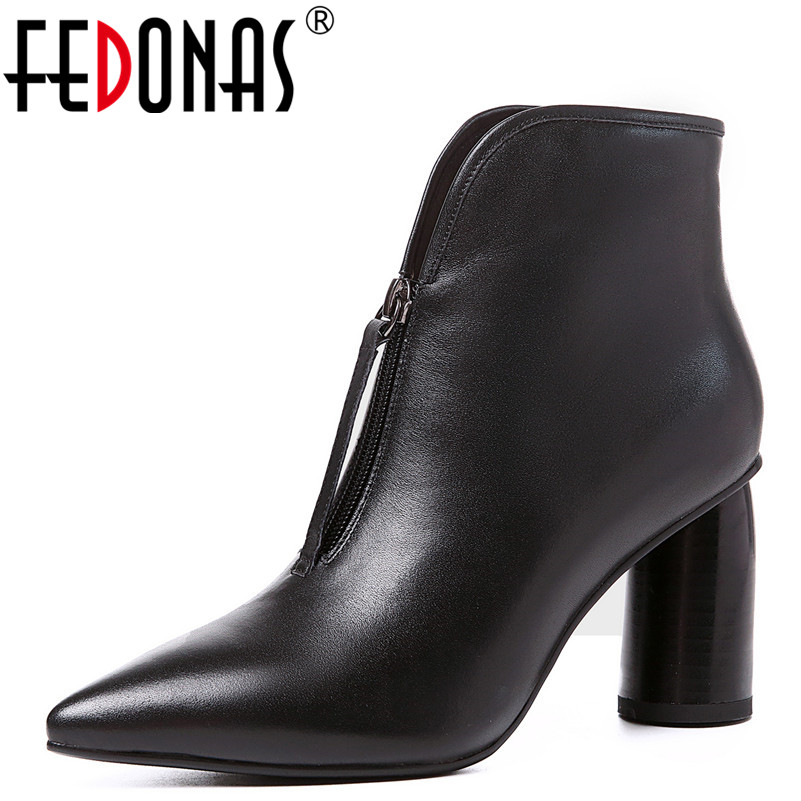 цена на FEDONAS 1Fashion Women Ankle Boots Autumn Winter Warm High Heels Shoes Pointed Toe Genuine Leather Elegant Casual Shoes Woman