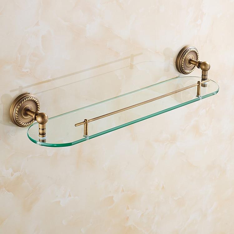 Bathroom Shelves Single Layer Rack Copper Antique Towel Hook Washing Shower Shampoo Glass Storage Bath Fitting Basket Shelf Sj10