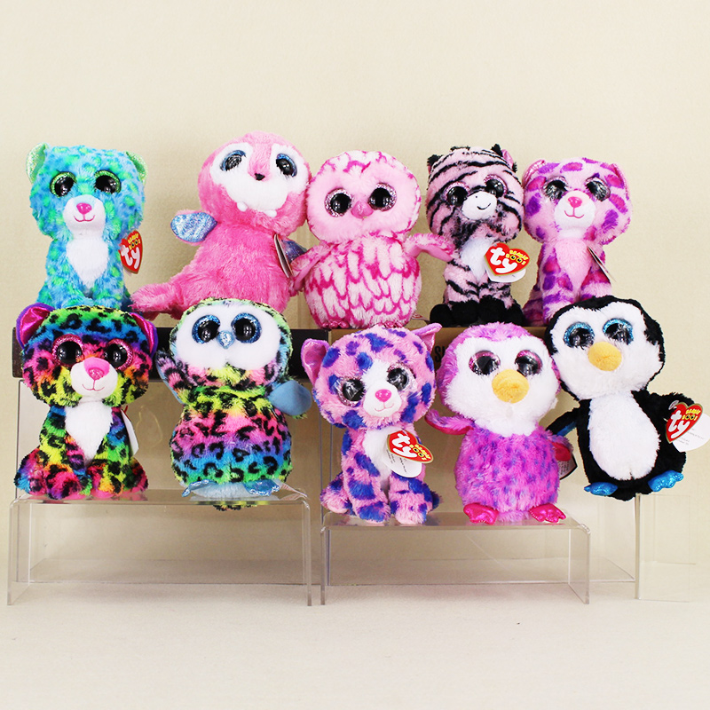 15cm Ty Beanie Boos Big Eyes Leopard Dotty Colorful Owl Penguin Pink Owl Purple Penguin Green