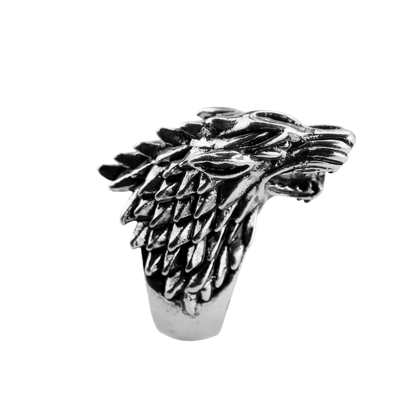Wholesale Game Of Thrones Stainless Steel Ring Ice Wolf House Stark Of Winterfell Biker Animal Ring Fashion Jewelry freeshipping