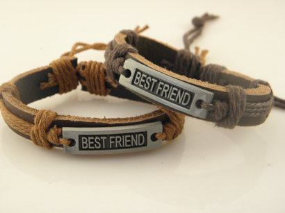 Factory Price Handmade Leather Hemp Braided Bracelets Engraved Best Friends For Men Women The Newest