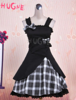 Gothic Lolita Dress JSK Black Gingham Applique Lolita Jumper Skirt