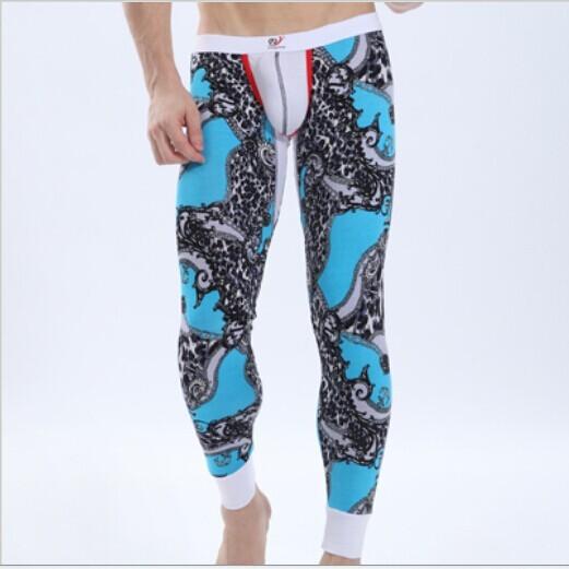 Los Hombres libres del envío Colorida Ropa Interior Térmica Modal Low Rise Pantalones Calientes Apretados Calzoncillos Largos Para El Invierno 6 colores