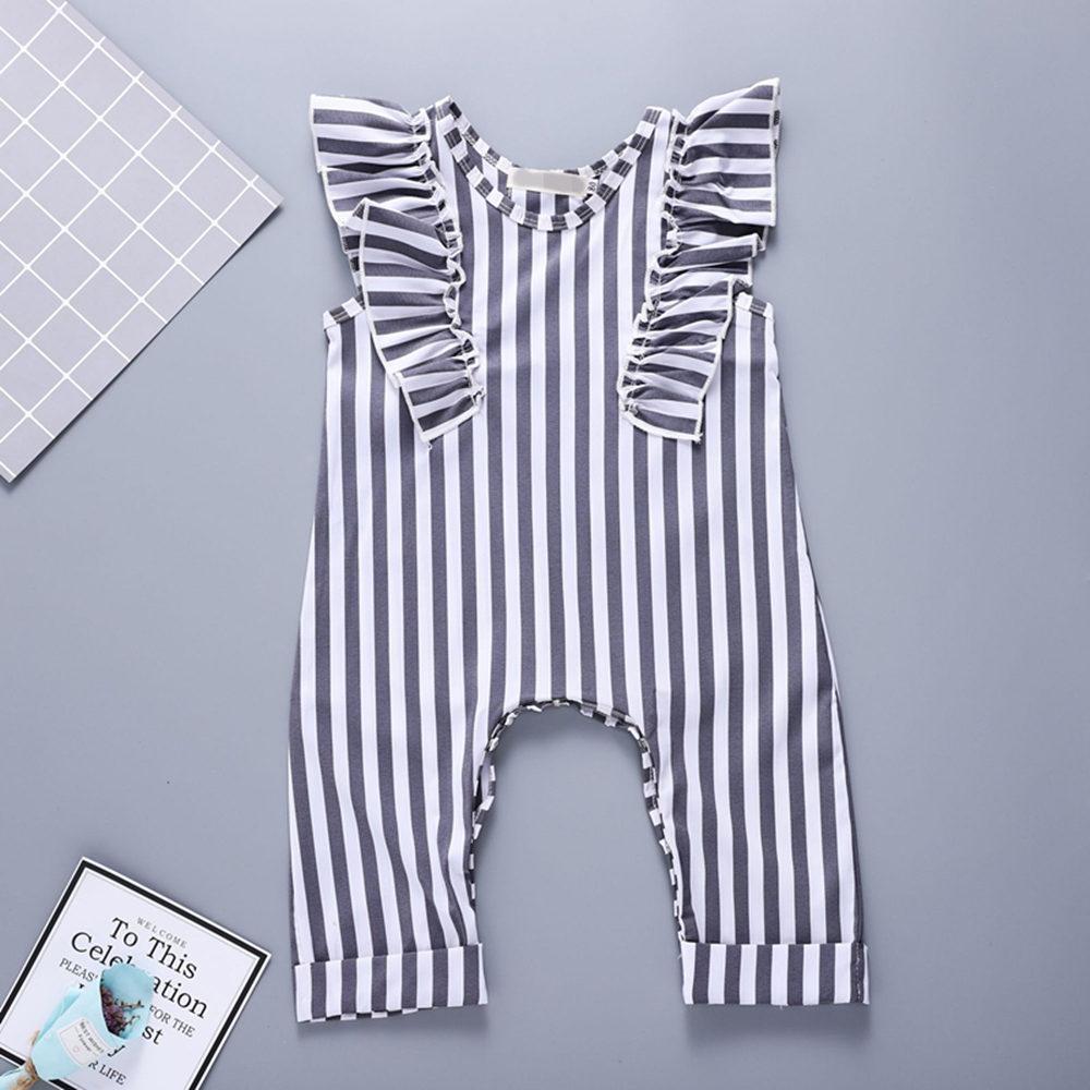 2018 Baby Girl Romper Baby Onesie Black White Striped Romper Flutter Sleeve Toddler Jumpsuit Baby Girl Summer Clothes Fashion
