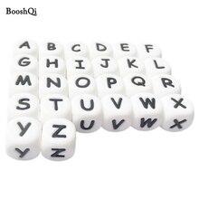 Cuentas de letras de silicona para insertar nombre en Clips de cadena de chupete, cuentas de alfabeto masticable de 10MM y 12MM para mordedores de collar de bebé, 100 Uds.