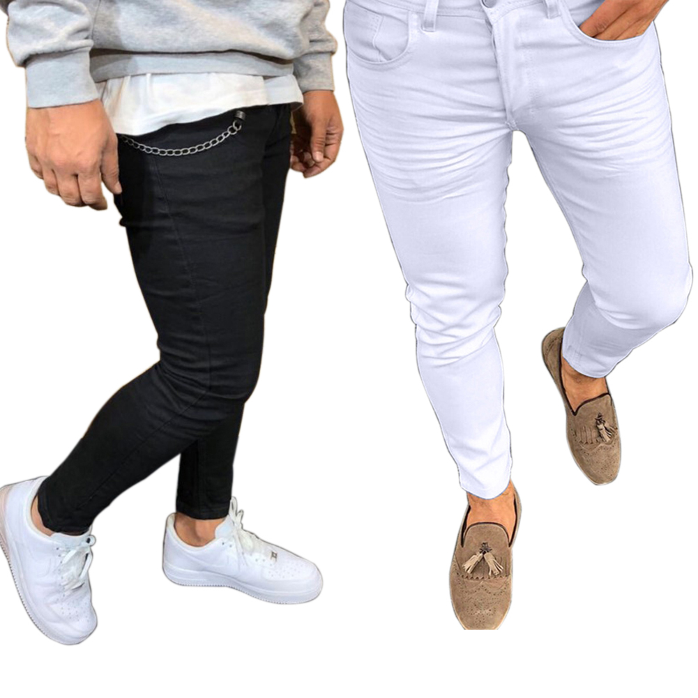 New Spring Leisure Solid Color Slim Fit Skinny Long Pants Middle Waist Men Trousers