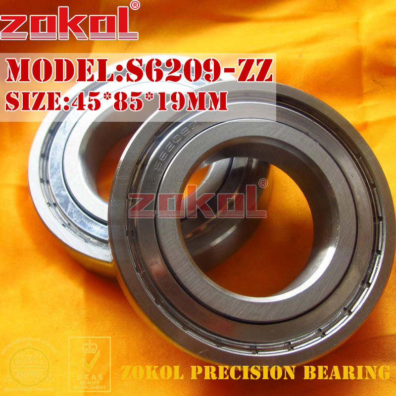 ZOKOL bearing 6209 ZZ S6209-ZZ S6209ZZ Stainess steel Deep Groove ball bearing 45*85*19mm gcr15 6326 zz or 6326 2rs 130x280x58mm high precision deep groove ball bearings abec 1 p0