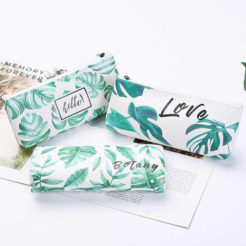 Korean Fresh Kawaii Pencil Case Turtle leaf pencil bag High capacity Pencil pouch School Office Home Storage Supplies Stationery