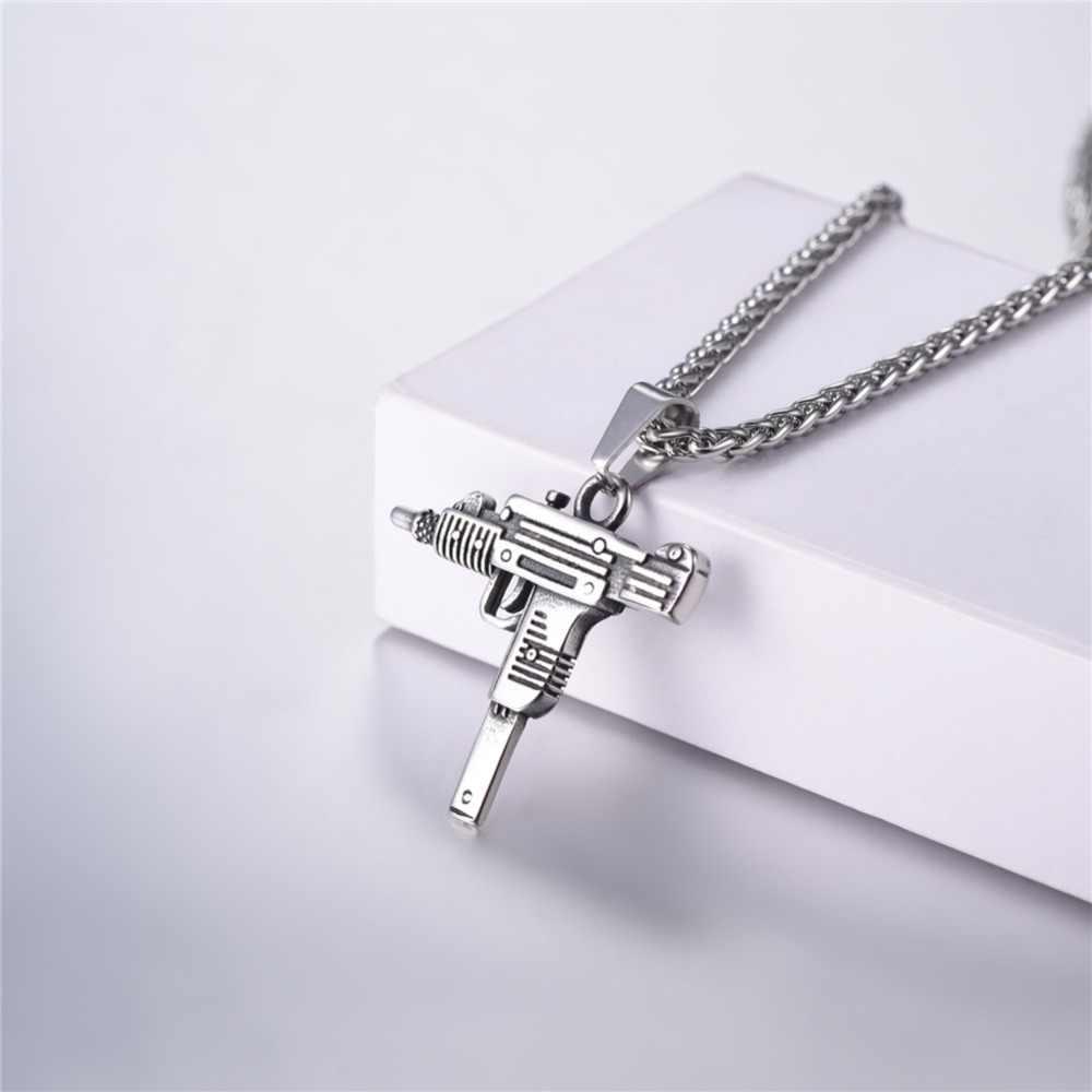 U7 UZI pistolet kształt wisiorek naszyjnik dla mężczyzn Hip Hop biżuteria złoty/czarny kolor ze stali nierdzewnej w stylu armii mężczyzna łańcuch naszyjniki P1159